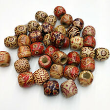 50 Pcs Mixed Natural Wooden Drum Beads Jewelry Bracelet Ethnic Craft 16*17mm
