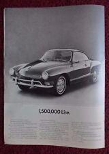 1970 Print Ad Volkswagen VW Karmann Ghia Automobile ~ A Lot of LIRE For a Car