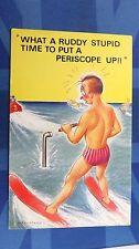 Risque Bamforth Comic Postcard 1960s Submarine Periscope SPEEDBOAT Water Ski
