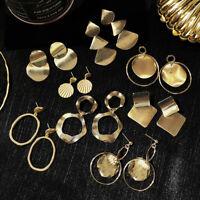 Runder Kreis Silberstift 925 Große Geometrie Ohrringe fallen Metall, Legierung