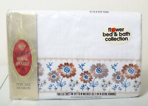 Vintage Cannon Royal Family Twin Flat Sheet No Iron Percale Flower USA Made