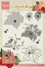 """Marianne design """"Tiny""""Layered Poinsettia flower stamps Clear Stamp set"""