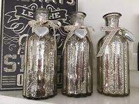 Shabby Chic Vintage Rustic Set 3 Gold Mercury Glass Bottles Vases With Ribbon