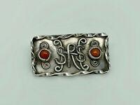 Gorgeous Vintage Studio Crafted Sterling Silver & Coral Ornate Design Brooch