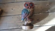 Vintage Wood Hand Carved Owl 9.25 x 4.75 inches Home Decor