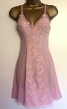 "Vintage 1960's Rose Pink Nylon Slip Petticoat Adorable Lacy Flirty 32"" 34"" Small"
