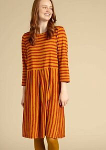 "BNWT *Gudrun Sjoden* Brush stripe arty jersey jersey pockets dress XL 46"""