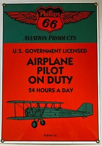Ande Rooney porcelain sign Phillips 66 Aviation Airplane Pilot Boeing 40