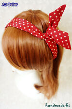 Bunny Ears Red Polka Dot Rockabilly Wire Headband Party Hair Band Girls Vintage