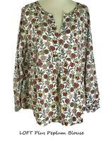 LOFT White Long Sleeves Floral Peplum Blouse Top Plus 18 20 22 24 26 NWT