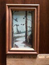 Miniature painting landscape trees winter scene signed Jevi / Tevi framed board