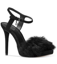 MICHAEL KORS Faye Embellished Suede Fur Evening Sandal Shoes Black Size 8.5 NEW