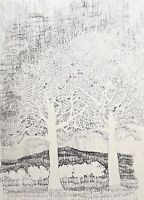 J WEISBAR 1971 PEN & INK MODERNIST ABSTRACT DETAILED LANDSCAPE STUDY DRAWING