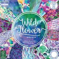 LOT 16 FEUILLE CARDSTOCK AQUARELLE GLAMOUR CHIC SHABBY WILD FLOWERS SCRAPBOOKING