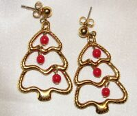 VINTAGE AVON DECK THE TREE DANGLING BEADS PIERCED EARRINGS G045
