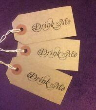 Alice In Wonderland Wedding DRINK ME Tags 10xBrown Kraft Cards Vintage Tea Party