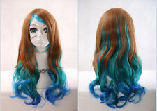 W-28 Marron Bleu Brown Blue Mix 60cm Harajuku lolita Boucles cosplay perruque wig