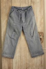 Vintage French work old chore pants denim utilitarian trousers 33W  workwear