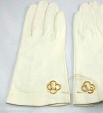 Vintage Womens White Kid Gloves Gold Accents Never Worn 1950s 6 1/2 Small