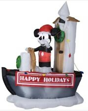 7' CHRISTMAS MICKEY MOUSE STEAMBOAT WILLIE Boat Sailor AIRBLOWN INFLATABLE Displ