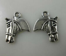 50pcs Tibetan Silver 2Sides Horse Charms Jewelry Making 16x21mm 10908