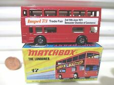 "Lesney Matchbox MB17B 1973 ""The Londoner"" Red IMPEL 73 Bus Black Base Mint Boxed"