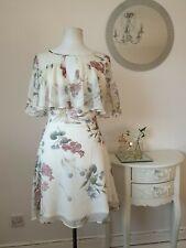 river island floral cape chiffon dress size 8
