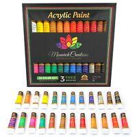 Acrylic Paint Set Tube 24 x 12ml. 3 Free Brushes.perfect For Canvas,Wood,Ceramic
