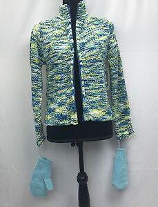 NWT CHRISTIE BROOKS Blue & Green JACKET SWEATER SIZE XL/YOUTH (16) with Mittens