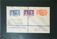 Sierra Leone 1937 Coronation Set First Day Cover / Light Bending - Z3430
