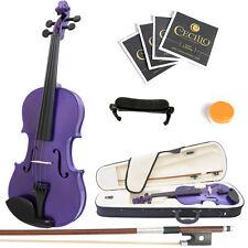 Mendini Size 4/4 MV-Purple Solidwood Violin +ShoulderRest+Extra Bridge+Case
