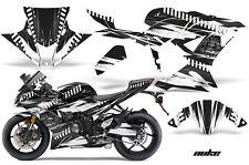 Street Bike Graphics Kit Decal Wrap For Kawasaki Ninja ZX6R 636 13-16 NUKE WHITE
