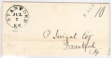 """U.S. Stampless Folded Letter: 1843 """"STANFORD/Ky.""""(black), """"PAID""""(Green), """"10"""""""