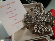1974 Reed Barton Sterling Christmas Cross Ornament Pendant Medallion WITH CHAIN