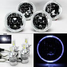 "FOUR 5.75"" 5 3/4 Round Clear Glass Whte Halo Headlights w/ 36W LED H4 Bulbs Pont"
