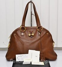 Yves Saint Laurent YSL Muse Large Brown Calf Tote Used Authentic + Dustbag Card