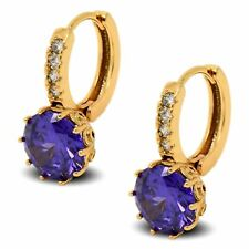 18ct Gold Filled Womens Hoop Earrings with Amethyst CZ Crystals