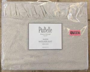 PIUBELLE GREY RUFFLE PAISLEY MATELASSE FULL QUEEN COVERLET PIU BELLE