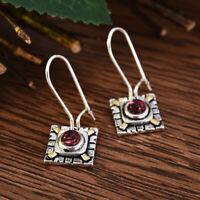2019 Ethnic Square 925 Silver Red Ruby Ear Hook Studs Women Dangle Drop Earrings