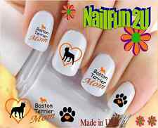 "Nail Art #115M DOG BREED ""Boston Terrier MOM 2"" WaterSlide Nail Decals Transfers"