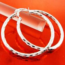 EARRINGS GENUINE REAL 925 STERLING SILVER S/F LADIES LARGE HOOP ITALIAN DESIGN