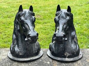 Pair Rare Antique Horse Head Busts Cast Iron Gate Post Top Finial Pillar Capping