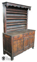 Antique 18th Century Rustic Country French China Hutch Cupboard Sideboard Buffet