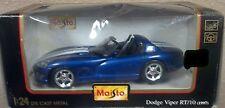 Maisto 1997 Dodge Viper RT/10 Blue with White stripes Convertible 1:24 NIP New