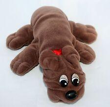 """Vintage Tonka POUND PUPPY Rumple Skins 8"""" Dark Chocolate Brown Red Collar"""