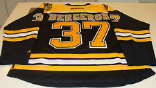 Boston Bruins Patrice Bergeron Home Black NHL Hockey Jersey XL Reebok Yellow