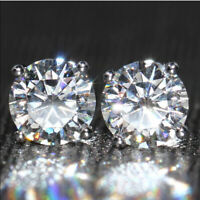 2 Ct Round Cut Moissanite Solitaire Stud  Earrings 14K White Gold Finish For Her