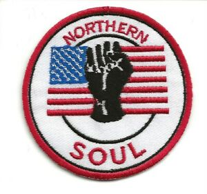 NORTHERN SOUL : U.S.A / AMERICA : White Embroidered Iron Sew On Patch