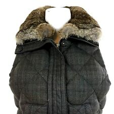Juicy Couture Wool Puffer Vest Down Filled w/Asiatic Rabbit Fur Collar Size 4