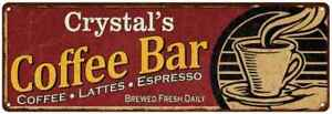 Crystal's Coffee Bar Red Personalized Sign Kitchen Gift 106180006103